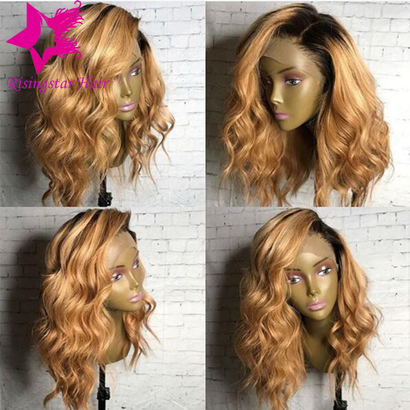 New style Glueless wavy lace front ombre human hair wig