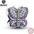 Impresionante 925 Sparkling Mariposa Púrpura CZ Animal Charm Bracelet Jewelry Making PAS023