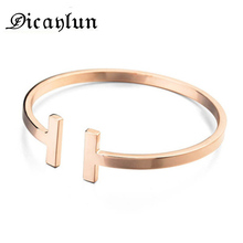 DICAYLUN women stainless steel bangle C cuff bangles silver open bracelet T charms t bracelet