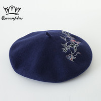 100 Warm Wool Winter Flower Embroidery Women Beret Hat For Sweet Girl Gift Autumn And Winter