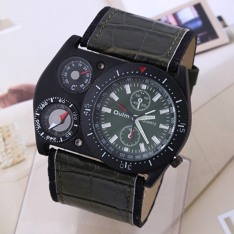 OULM Unique Design Military Army Green Dial Mens Quartz Wrist Watch New Nice Xmas Gift Wholesale Price A112