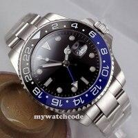 43mm Parnis Black Dial GMT Ceramic Bezel Sapphire Glass Automatic Mens Watch 298