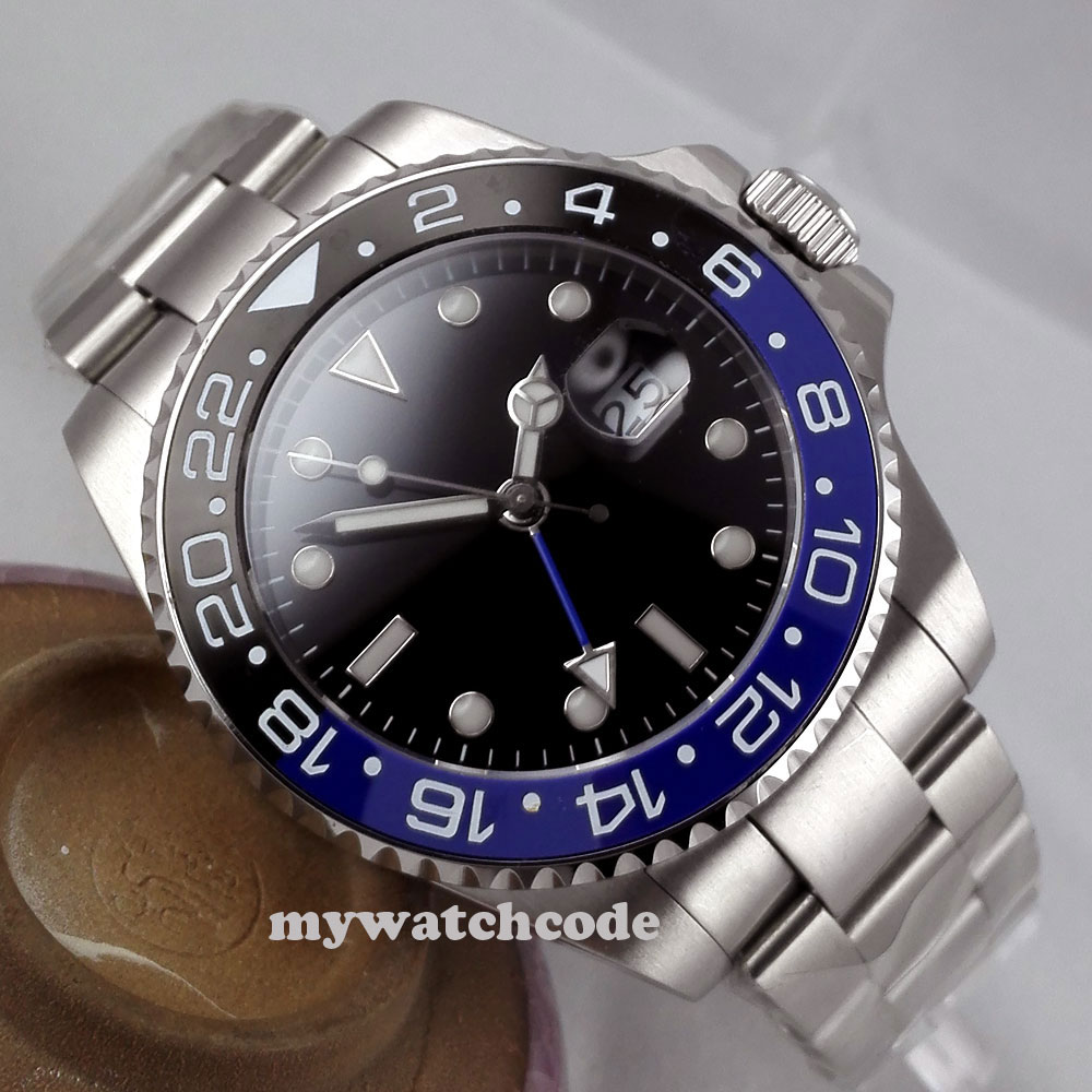 Relojes mecánicos de marca de lujo bliger 43mm negro estéril dial GMT cerámica bisel zafiro vidrio automático reloj para hombre 298-in Relojes mecánicos from Relojes de pulsera    1