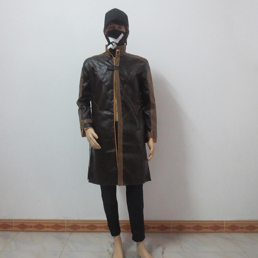 Watch Dogs Aiden Pearce косплей костюм пальто+ брюки+ шляпа+ маска - Цвет: male size