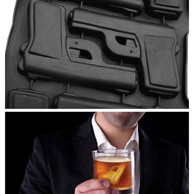 Gun Shaped Funny Ice Mold Mold Plastic Large Ice Cream Tub Set Tools Black Rubber Ice Mold Tray Mould for Party Drink Whiskey
