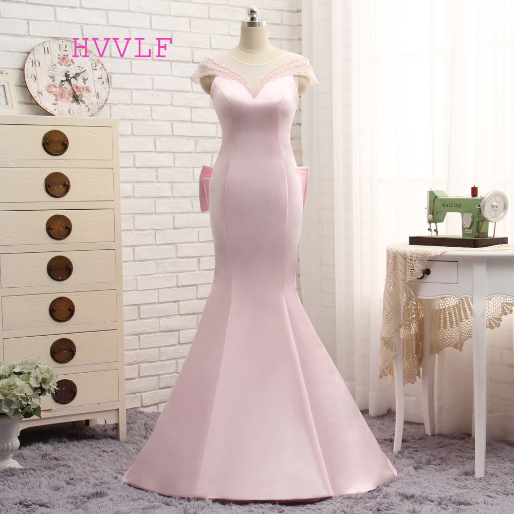 5f161ba7b21 Elegant 2018 Mermaid Cap Sleeves See Through Pink Pearls Bow Women Long  Evening Dresses Evening Gown Prom Dresses Gown