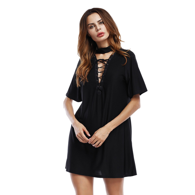 Hot Sale Summer Bandage Lace Up Deep V-Neck Sexy Dresses 2017 Fashion Women Short Sleeve Clothes Casual Party Club T-Shirt Dress