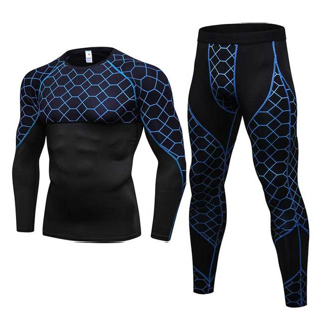 2 Pieces Men GYM Compress Fitness Sets Long Tee Top + Legging + Shorts Workout Exercise Sport Shirts Running Tights A279