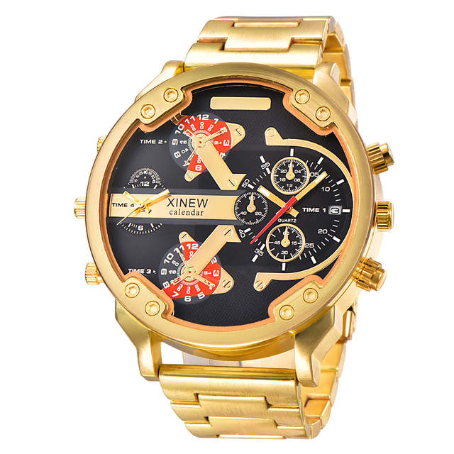 d691d001ac US $15.08 48% OFF|XINEW 2018 Full Stainless Steel Dual Time Big Face Luxury  Gold Quartz Calendar Watch Men Relogio Masculino Original Marca Ouro-in ...