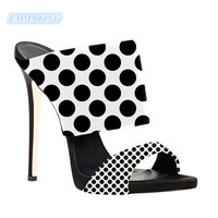 Black White Polka Dots Stilettos Mules Shoes Woman 2019 New Outdoor Open Toe High Heels Slippers Mixed Colors Slingback Sandals