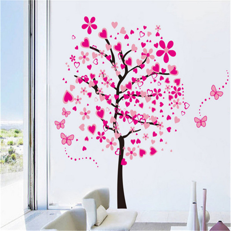 Beautiful DIY Large Wallpaper For Pink Butterfly Flower Tree ...