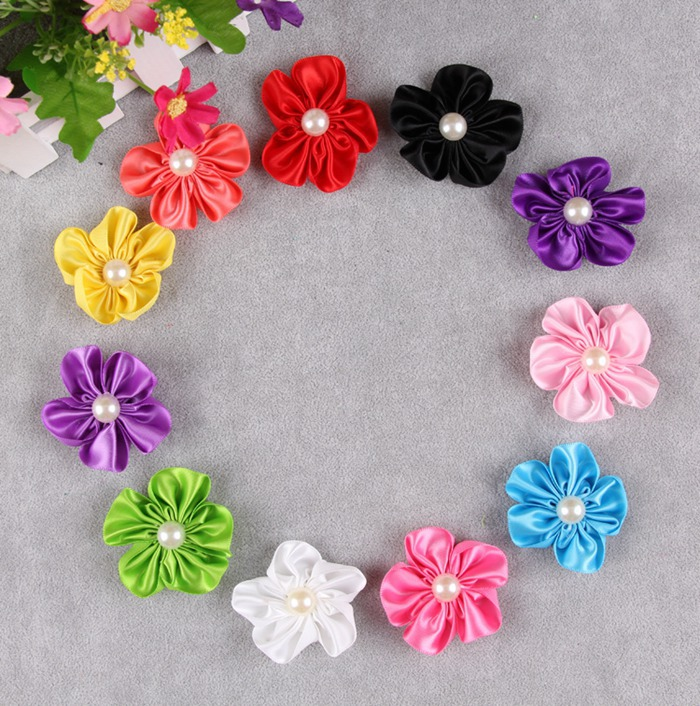 H17 (20pcs/lot ) Satin cloth flower with pearl Applique ...