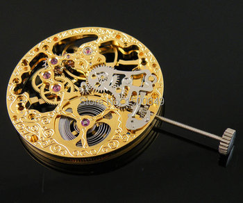 Reloj movimiento mecánico oro completo esqueleto mano bobinado movimiento fit Parnis hombre reloj P73
