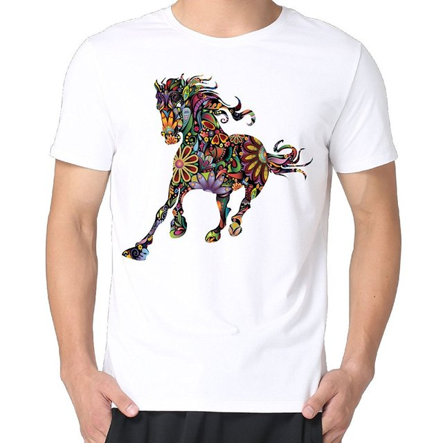 Cool T Shirts Designs Best Selling Men Colorful Horse Art Screen ...
