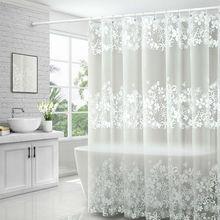UFRIDAY Wasserdicht Dusche Vorhänge Transparent Blumen Dusche Vorhang PEVA Kunststoff Bad Vorhang Weiße Blume Bad Vorhang