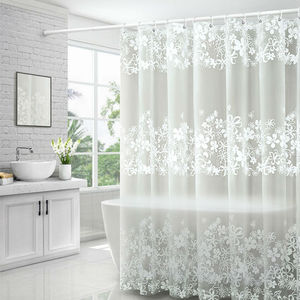 Image 1 - UFRIDAY Waterproof Shower Curtains Transparent Floral Shower Curtain PEVA Plastic Bathroom Curtain White Flower Bath Curtain