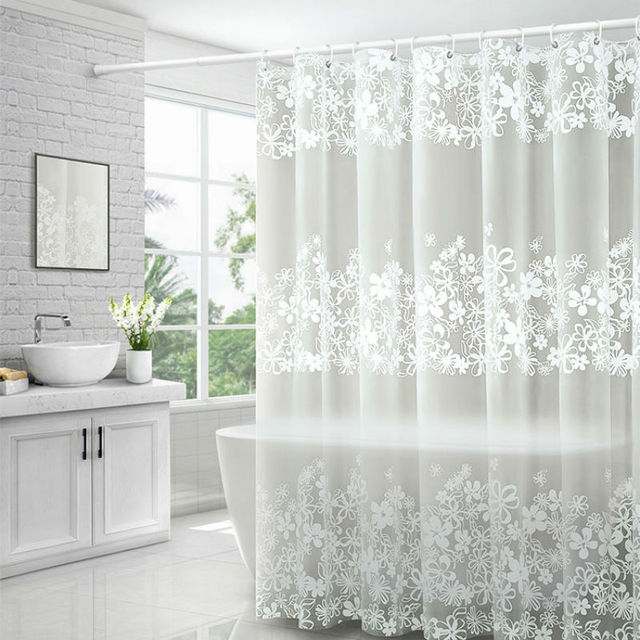 UFRIDAY Waterproof Shower Curtains Transparent Floral Shower Curtain PEVA Plastic Bathroom Curtain White Flower Bath Curtain
