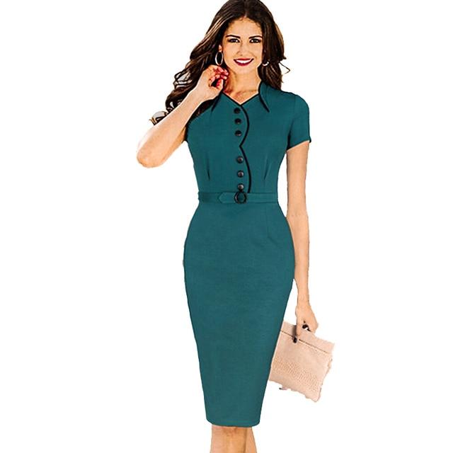 e302ff038797b US $22.86  Elegant Women Summer Formal Peplum Dress Tunic Solid Bodycon  Pencil Casual Dresses Fashion Office Ladies 2015 Vestidos XXL Dress-in  Dresses ...