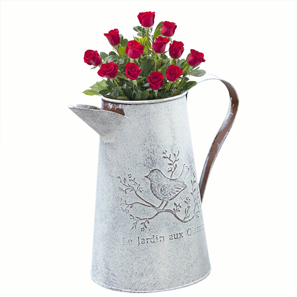 Metal Vase Iron Flower Watering Pot for Spraying Water and Watering Flowers Home Decor Metal Flower Vase Table Decor Serve as a Retro Ornament