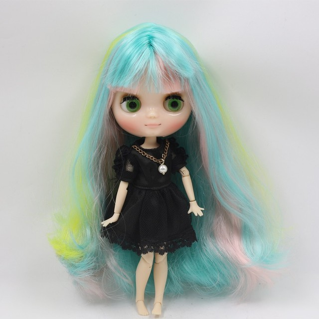 Middie Blyth Nude Doll 20Cm Long Curly Hair Mixed Color hair shine face Joint Body with hands set No.1010/4003/3208