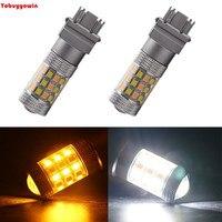 2-Pack Dual Farben Weißem Amber Switch 840 Lumen T25 3157 2835 42SMD Led Außenbeleuchtung Für Auto Blinker Lampen DC 12 V