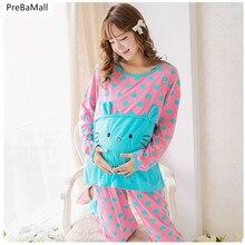 Пижамы для кормящих матерей, комплекты для беременных женщин, хлопковые пижамы с длинными рукавами для кормящих мам, комплекты одежды для беременных D0017