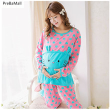 Breastfeeding Maternity Pajamas Sets For Pregnant Women  Cotton Long Sleeve Nursing Sleepwear Clothing D0017