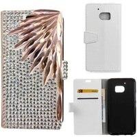 3D DIY Lüks Bling Kristal Rhinestone Elmas PU deri Çevirme Standı cüzdan Telefon Case Arka kapak htc One M10 ile kart yuvası