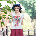 Vintage Bordado de la Marca de Tendencia de Ropa Para Las Mujeres de Moda de Verano Nueva 2016 V de Algodón de Cuello Casual Plus 3XL Camiseta