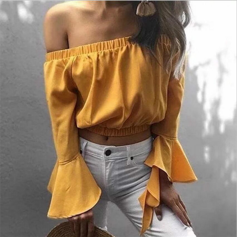 Sexy off shoulder crop top white long sleeve blouse shirt women summer top slash neck flare sleeve shirts 2018 new women blouses