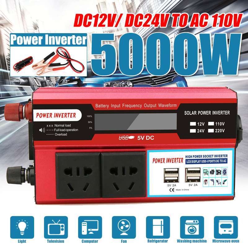 5000W 4 USB Solar Power Inverter DC 12/24V To AC 110V Car Adapter Charge Converter LCD Display Modified Sine Wave Transformer