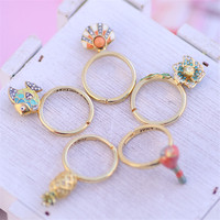 Europe And The United States Style Fashion Flower Bird Shell Fish Gem Women Open Ring