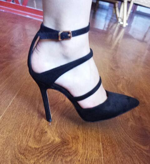 2017 newest pointed toe high heel shoes black PU suede ankle strap pumps sexy cutouts Stiletto heels woman dress heels newest solid flock high heel pumps woman
