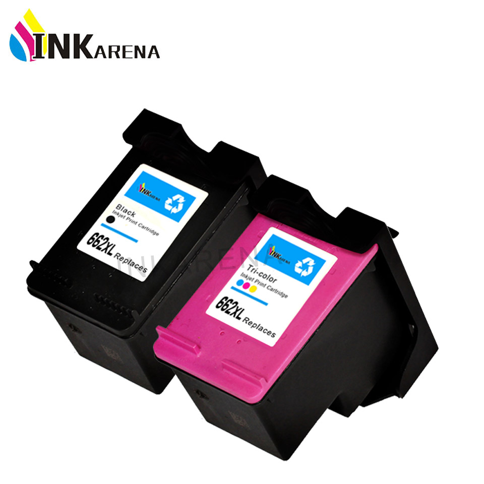 INKARENA Remanufactured Ink Cartridge Replacement For HP 662 662XL Black Color Deskjet 1015 1515 2515 2545 2645 Printer Refill 1 set for hp121xl black and color 2pk remanufactured ink cartridge for hp desjetf2560 f2568 f4280 4288 printer