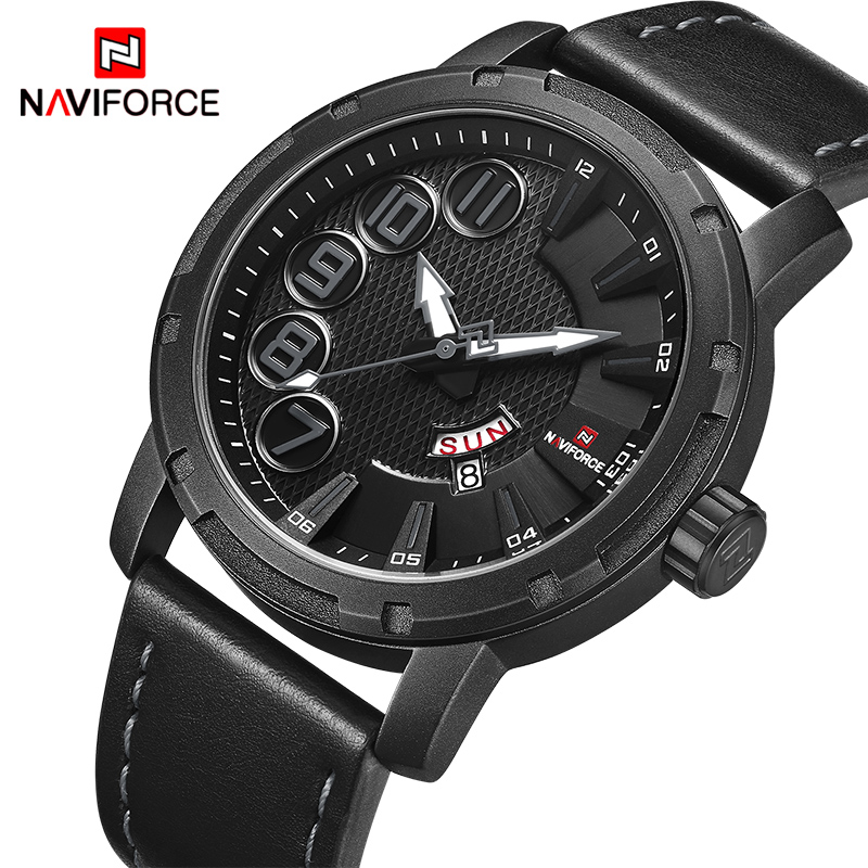все цены на NAVIFORCE Luxury Brand Men's Quartz Watches Men Fashion Waterproof Leather Sport Military Watch Man Date Clock Relogio Masculino