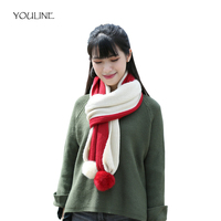 YOULINE Winter Warm Scarf Luxury Brand Knitted Scarves Shawls Stoles Scarf Collar Striped Crochet Scarf LICs