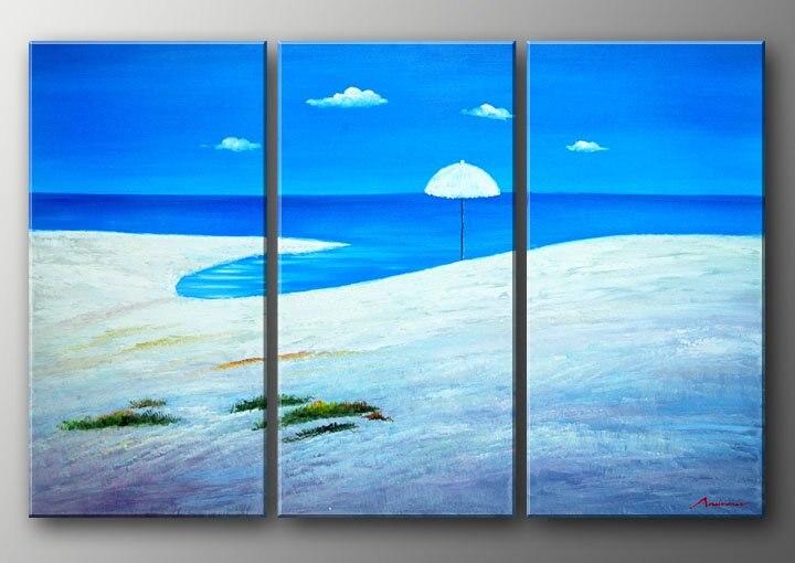 hand painted Blue ocean beach white Home Decoration Modern