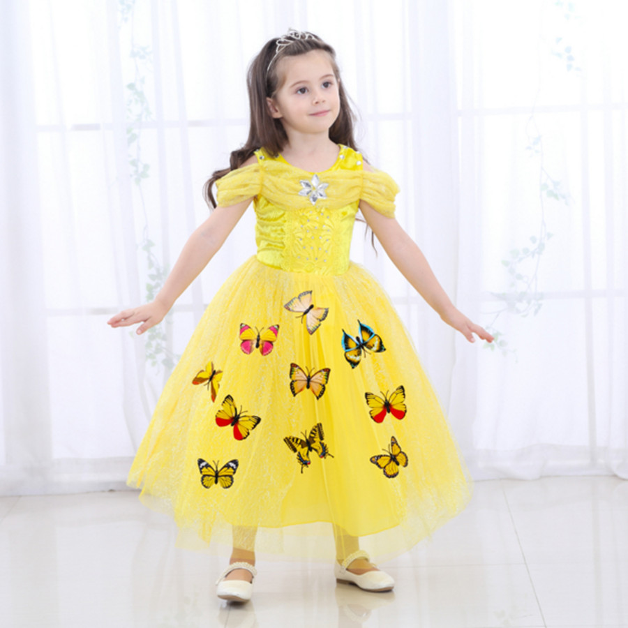 41b621f4bf 3-10Y Girls Cinderella Princess Dress Baby Girls Party Wear Clothes  Halloween Christmas Costume Yellow Queen New Years Dress