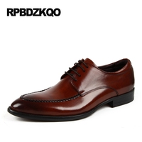 Pointed Toe Nice Italian 2017 New Formal Brown Men Genuine Leather Shoes Flats Comfort Work Dress