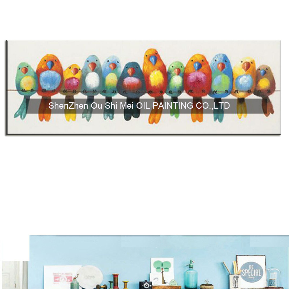 Legrační ručně malované plátno Olejomalba barevné ptáky plátno umění roztomilý krásný pták obrázek abstraktní domácí dekorace nástěnná malba