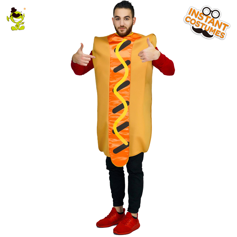 QLQ 2018 New Mens Hot Dog Jumpsuit Costume Food Role Play Carnival Party Funny Cosplay Halloween Party Hot Dog Costumes