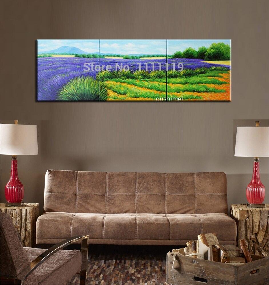 Fait à la main belle peinture à l'huile pourpre lavande paysage à la main calligraphie mur Art photos peintures modernes toile décor