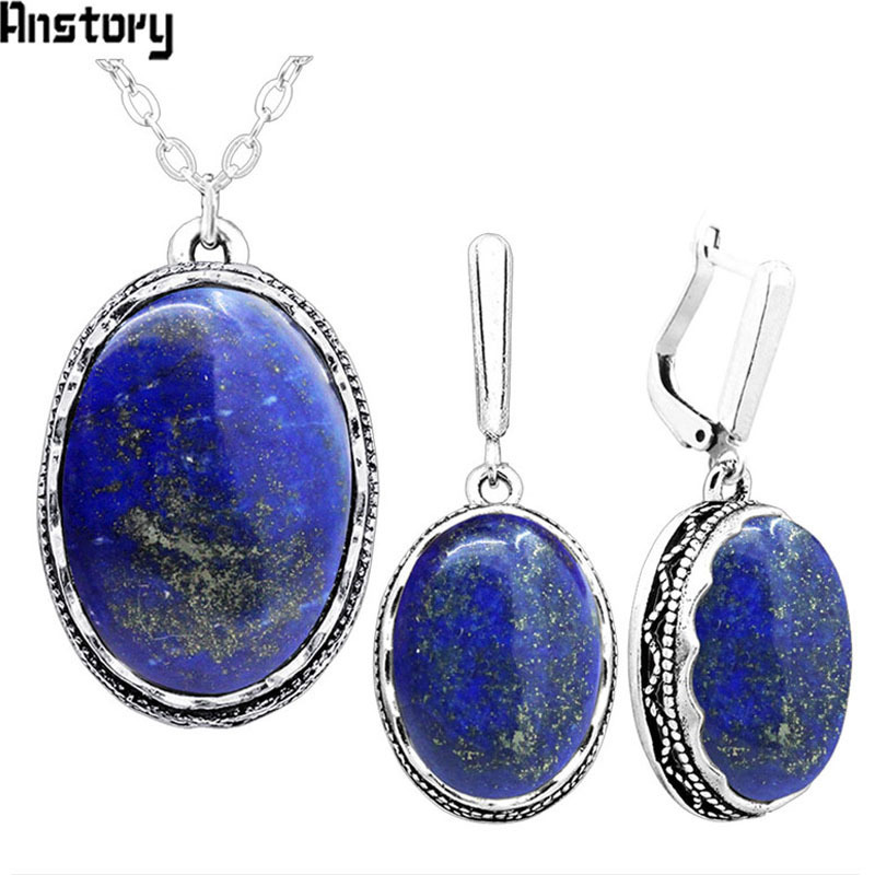 Oval Natural Lapis Lazuli Jewelry Set Necklace Earrings