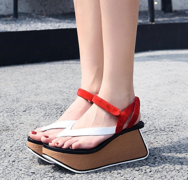 d65c87d802c3 Gladiator Women Platform Wedge Sandals Real Leather Ankle Strap Summer  Ladies Shoes Woman Fashion Sandalias Mujer Valentine Shoe