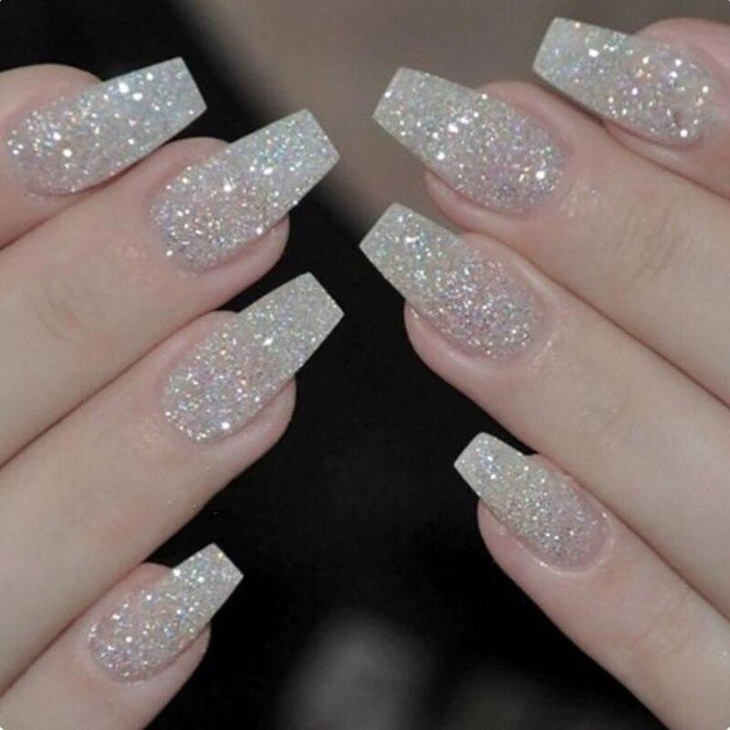 100pcs/box New Ballerina Nail Tips Full Nails Coffin Shape ...