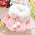 Autumn Winter Baby Girls coat Faux Fur Pearls Fleece Lapel Collar Infant Kids Outerwear Princess Jacket Coats