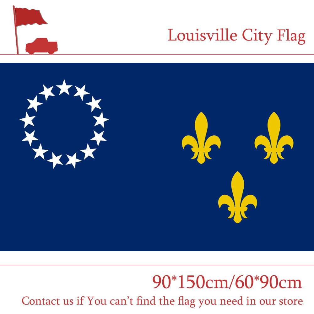 3x5ft US City of Former Louisville Flag State Kentucky 90*150cm 60*90cm 100d Polyester Banners with Brass Grommets