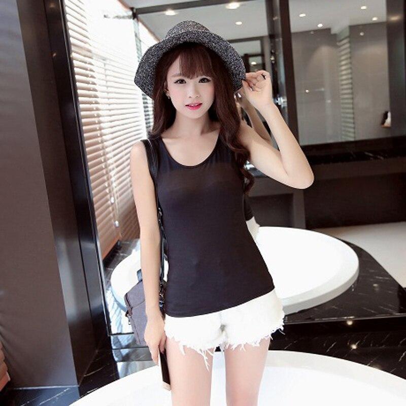 Stylish Summer Simple Style Black White Plain Color Tank Tops Women Ladies Sleeveless Shirts Vest FS0547