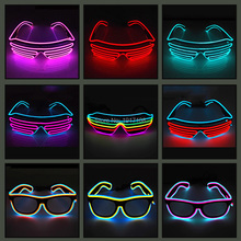 2019 Hot Sales EL Wire Neon LED Light Up Shutter Fashionable Glasses For Party Decoration With Flashing/Steady On EL Inverter