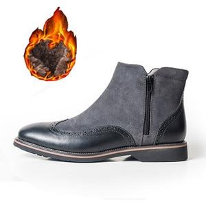 Image 2 - الشتاء الرجال الأحذية جلد طبيعي البقر المدبوغ الكاحل تشيلسي الأحذية حذاء رجالي اليدوية أكسفورد أحذية للرجال أحذية بوت قصيرة أحذية 2020